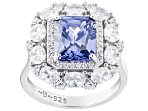 Blue And White Cubic Zirconia Rhodium Over Sterling Silver Ring 7.61ctw