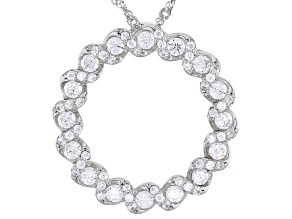 White Cubic Zirconia Rhodium Over Sterling Silver Pendant With Chain 2.43ctw