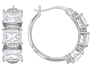 White Cubic Zirconia Rhodium Over Sterling Silver Hoops 8.86ctw