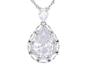 White Cubic Zirconia Rhodium Over Sterling Silver Pendant With Chain 12.80ctw
