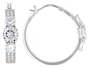 White Cubic Zirconia Rhodium Over Sterling Silver Hoops 7.09ctw
