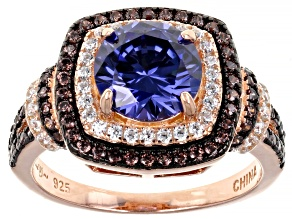 Blue, Mocha, And White Cubic Zirconia 18k Rose Gold Over Sterling Silver Ring 4.00ctw