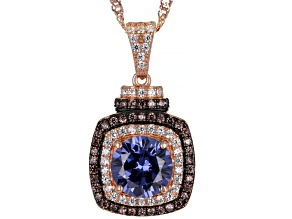Blue, Mocha, And White Cubic Zirconia 18k Rose Gold Over Sterling Silver Pendant With Chain 3.62ctw
