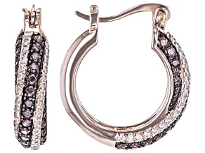 Mocha And White Cubic Zirconia 18k Rose Gold Over Sterling Silver Hoops 1.94ctw