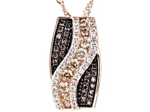 Mocha, Champagne, And White Cubic Zirconia 18k Rose Gold Over Sterling Silver Pendant 1.25ctw