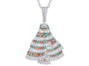 Multicolor Cubic Zirconia Rhodium Over Sterling Silver Christmas Tree Pendant With Chain 2.26ctw