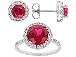 Lab Created Ruby And White Cubic Zirconia Rhodium Over Sterling Silver Jewelry Set 7.57ctw