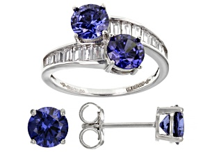 Blue And White Cubic Zirconia Platinum Over Sterling Silver Jewelry Set 6.20ctw