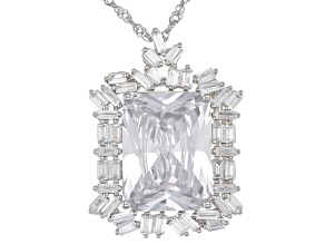 White Cubic Zirconia Rhodium Over Sterling Silver Pendant With Chain 21.62ctw