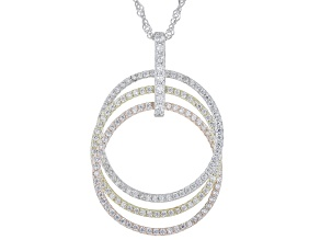 White Cubic Zirconia Rhodium And 14k Yellow And Rose Gold Over Silver Pendant With Chain 1.74ctw