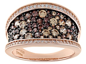 Mocha, Champagne, And White Cubic Zirconia 18k Rose Gold Over Sterling Silver Ring 2.38ctw