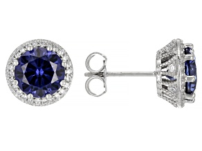Blue And White Cubic Zirconia Rhodium Over Sterling Silver Studs 6.50ctw
