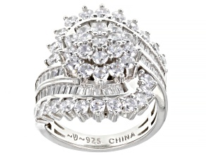 White Cubic Zirconia Platinum Over Sterling Silver Ring 5.23ctw