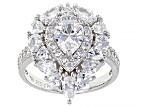 White Cubic Zirconia Rhodium Over Sterling Silver Ring 6.79ctw