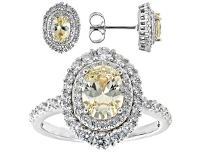 Canary And White Cubic Zirconia 18k Yellow Gold Over Sterling Silver Jewelry Set 7.89ctw