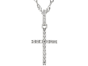 White Cubic Zirconia Rhodium Over Sterling Silver Children's Cross Pendant With Chain 0.38ctw