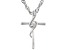 White Cubic Zirconia Rhodium Over Sterling Silver Children's Cross Pendant With Chain 0.05ctw