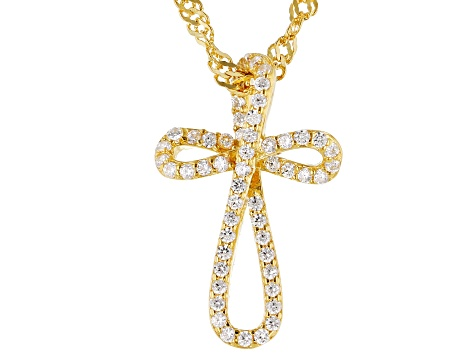 White Cubic Zirconia 18K Yellow Gold Over Sterling Silver Children's Cross Pendant With Chain