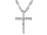 White Cubic Zirconia Rhodium Over Sterling Silver Children's Cross Pendant With Chain 0.14ctw