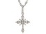 White Cubic Zirconia Rhodium Over Sterling Silver Children's Cross Pendant With Chain 0.64ctw