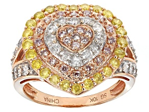 Yellow, Pink And White Diamonds 10k Rose Gold Ring 1.25ctw