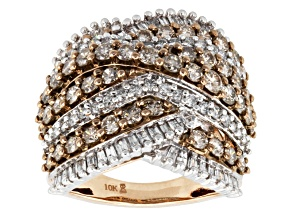 Champagne And White Diamonds 10k Rose Gold Ring 3.00ctw