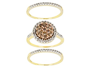 Champagne And White Diamonds 10k Yellow Gold Ring Set 1.00ctw