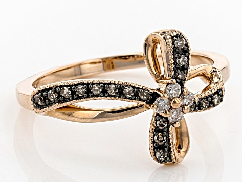 Champagne And White Diamond 10k Rose Gold Ring  16ctw