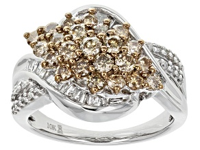 Champagne And White Diamond 10k White Gold Ring 1.50ctw