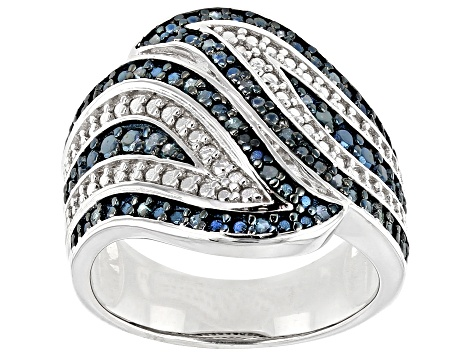 Blue Diamond Rhodium Over Sterling Silver Ring 0.30ctw