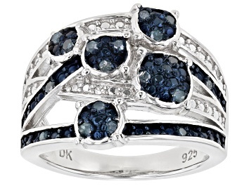 Picture of Blue Diamond Rhodium Over Sterling Silver Ring 0.23ctw