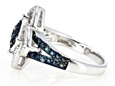 Blue Diamond Rhodium Over Sterling Silver Ring 0.16ctw