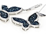 Blue Diamond Rhodium Over Sterling Silver Earrings 0.26ctw