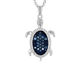 Blue Diamond Rhodium Over Sterling Silver Pendant With 18