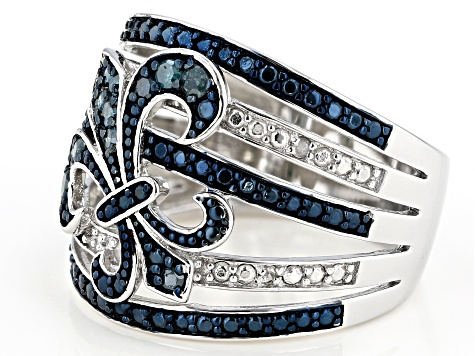 Blue And White Diamond Rhodium Over Sterling Silver Ring 0.28ctw