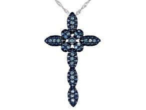 Blue Diamond Rhodium Over Sterling Silver Pendant W/ 18