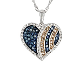 Blue & Champagne Diamond Rhodium Over Sterling Silver Heart Pendant With 18