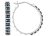 Blue Diamond Rhodium Over Sterling Silver Hoop Earrings 0.60ctw