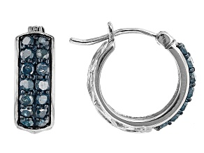 Blue Diamond Rhodium Over Sterling Silver Huggie Hoop Earrings 1.15ctw