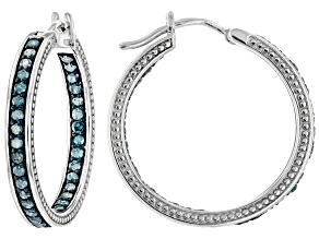 Blue Diamond Rhodium Over Sterling Silver Hoop Earrings 1.10ctw