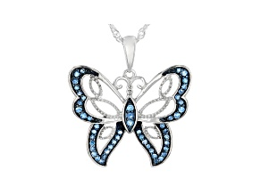 Blue Diamond Rhodium Over Sterling Silver Butterfly Pendant With Chain 0.30ctw