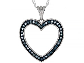 Blue Diamond Rhodium Over Sterling Silver Heart Pendant With Chain 0.60ctw