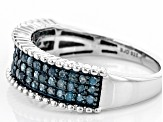 Blue Diamond Rhodium Over Sterling Silver Multi-Row Ring 0.50ctw