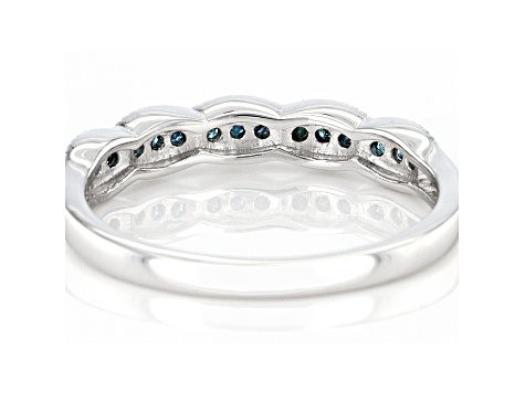 Blue Diamond Rhodium Over Sterling Silver Band Ring 0.15ctw