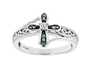 Blue And White Diamond Rhodium Over Sterling Silver Cross Ring 0.15ctw