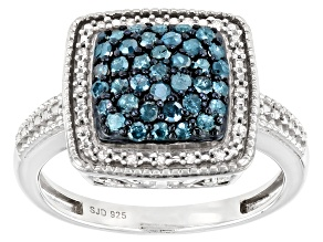 Blue And White Diamond Rhodium Over Sterling Silver Cluster Ring 0.60ctw