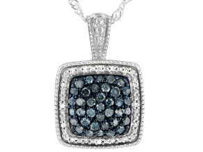 Blue And White Diamond Rhodium Over Sterling Silver Cluster Pendant W/ Chain 0.60ctw