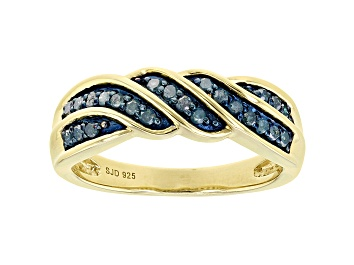 Picture of Blue Diamond 14k Yellow Gold Over Sterling Silver Band Ring 0.25ctw