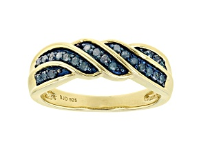 Blue Diamond 14k Yellow Gold Over Sterling Silver Band Ring 0.25ctw