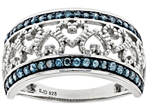 Blue Diamond Rhodium Over Sterling Silver Heart Ring 0.40ctw